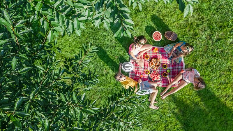 Happy family with children having picnic in park, parents with kids sitting on garden grass and eating healthy meals outdoors. Aerial drone view from above royalty free stock photography