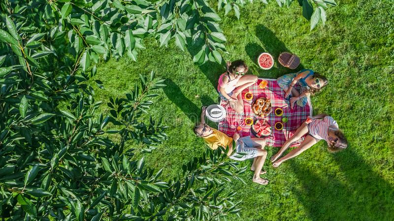 Happy family with children having picnic in park, parents with kids sitting on garden grass and eating healthy meals outdoors royalty free stock photos