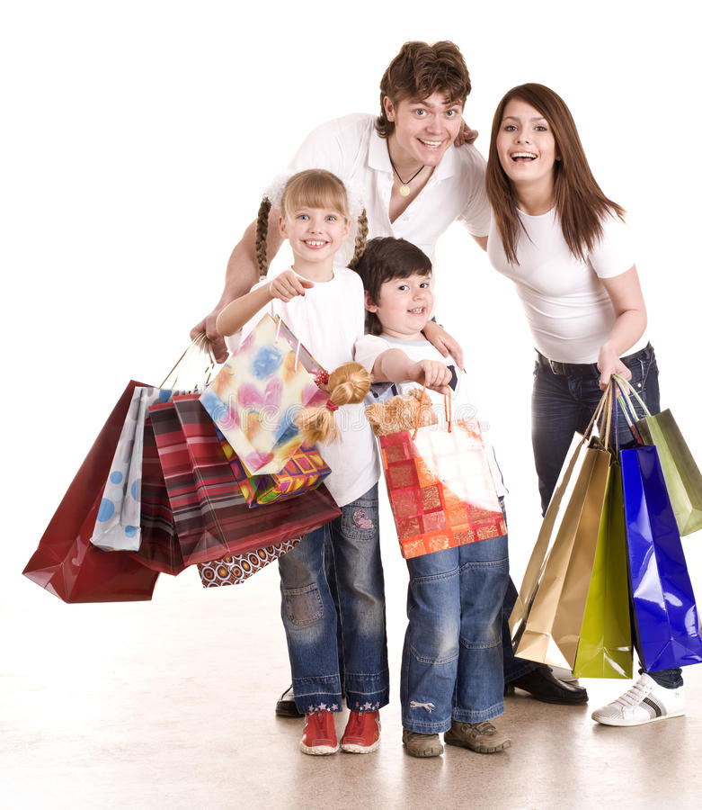 Download Happy Family And Children Shopping. Royalty Free Stock Photos - Image: 10451548
