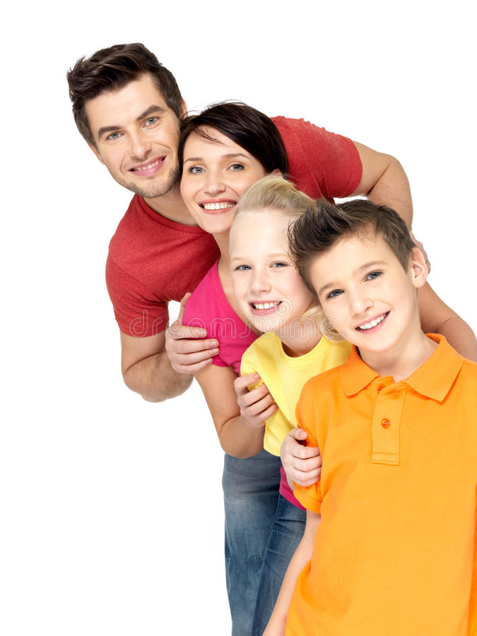 Download Happy Family With Children Standing Together In Line Stock Image - Image: 29258421