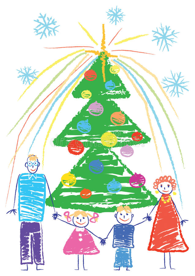Download Happy family. Christmas. stock vector. Image of sketch - 10983104