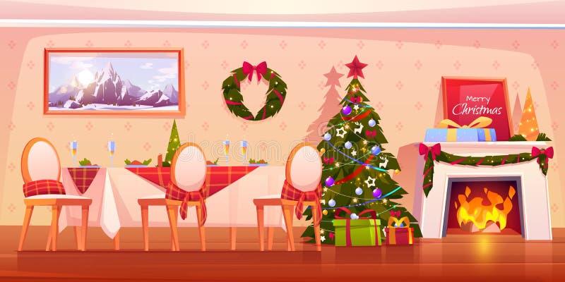 Happy family Christmas dinner, celebrating holiday stock illustration