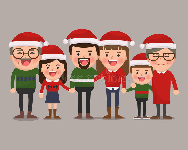 Happy family in Christmas hats. stock illustration