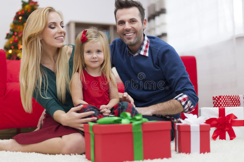 Happy family in Christmas time royalty free stock photography