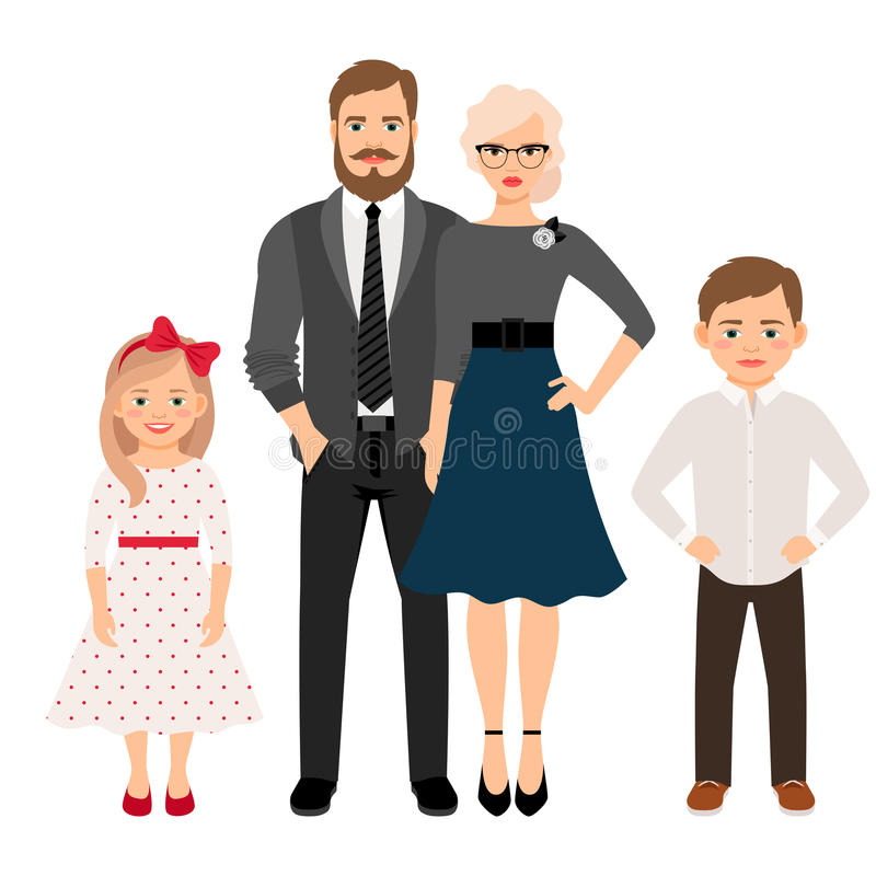 Happy family in classic style clothes. Happy family. Father, mother, son and daughter together in classic style clothes. Vector illustration stock illustration