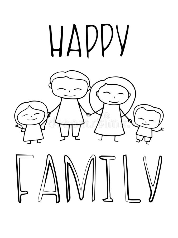 Happy Family coloring vector illustration. Smiling family card for children hobby coloring. Mom dad daughter and son vector illustration