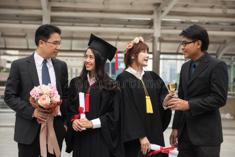 Happy family in Commencement day stock photos