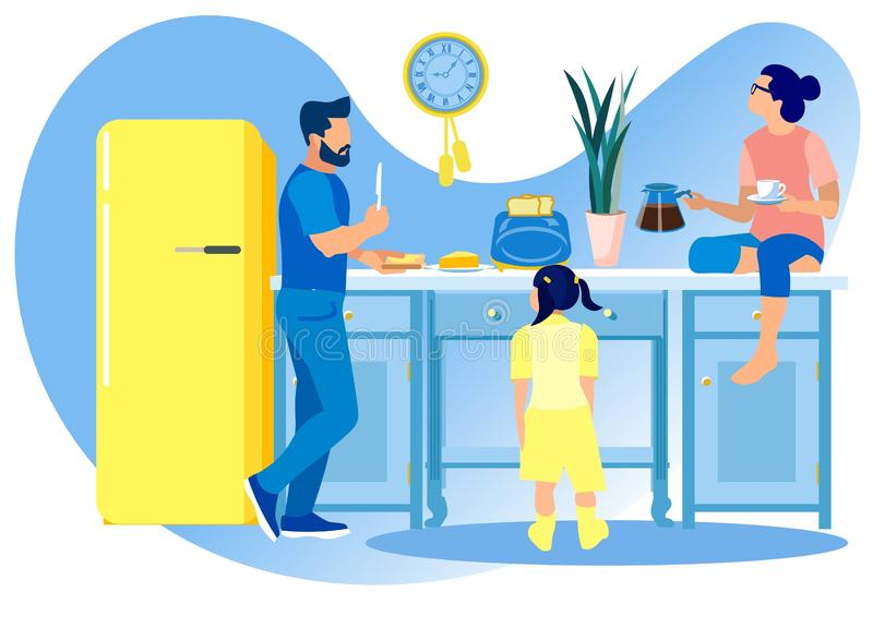 Happy Family Communicating and Eating on Kitchen vector illustratie