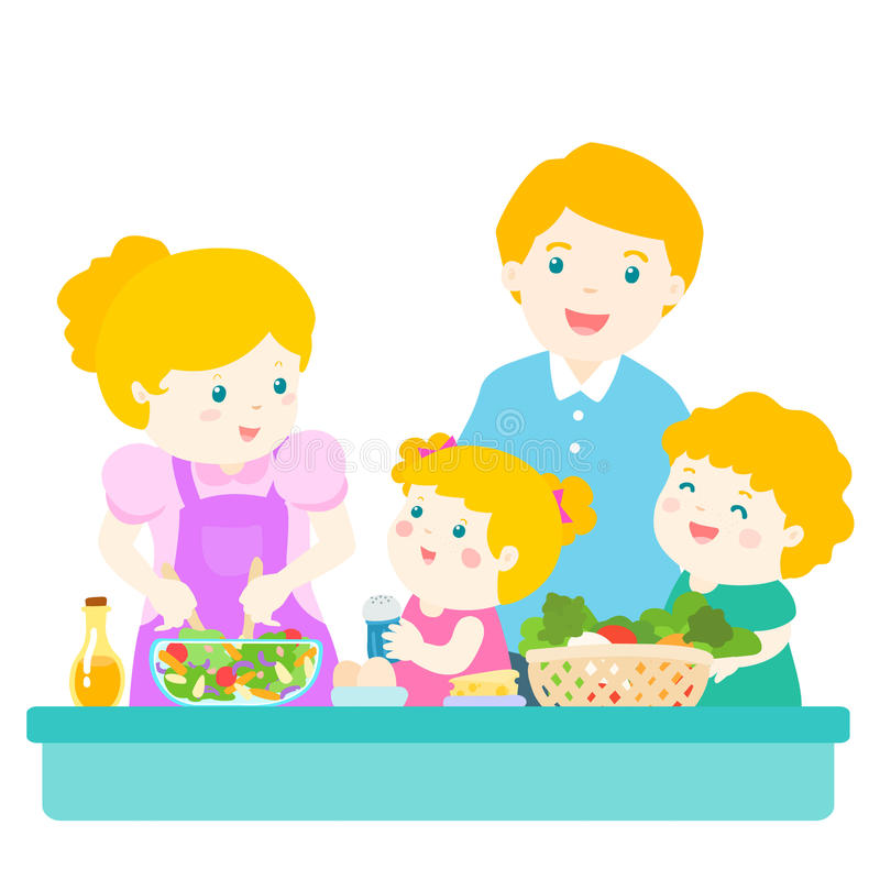 Happy family cook healthy food together cartoon character vector illustration