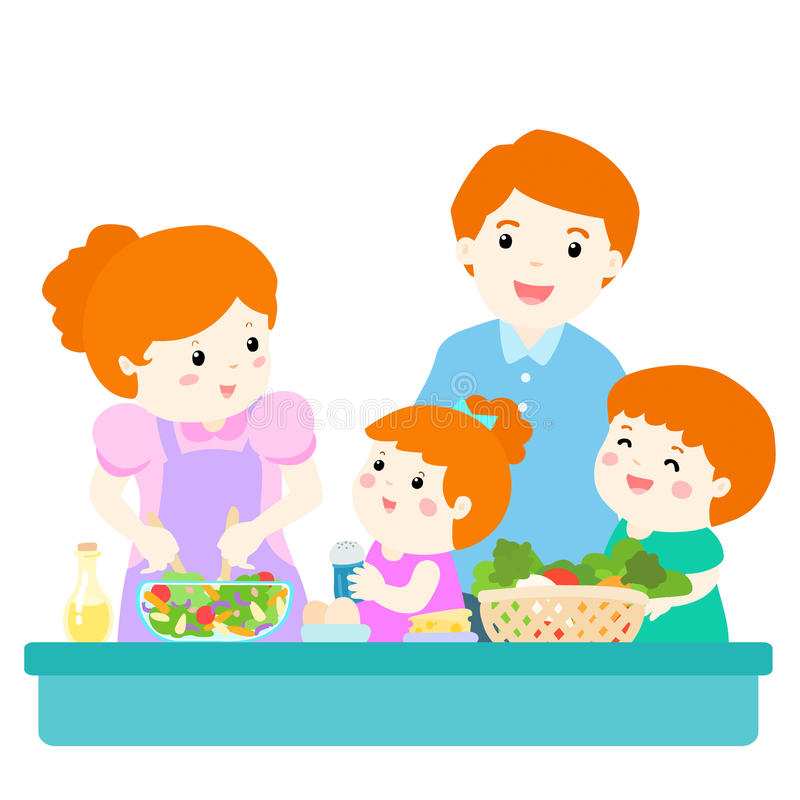 Happy family cook healthy food together cartoon character stock illustration