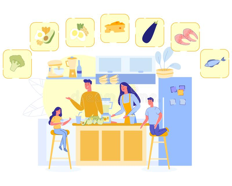Happy Family Cook Healthy Nutrition, Parents Kids. Happy Family Cooking Healthy Nutrition, Mother, Father and Kids Prepare Tasty Food on Kitchen, Fruits vector illustration