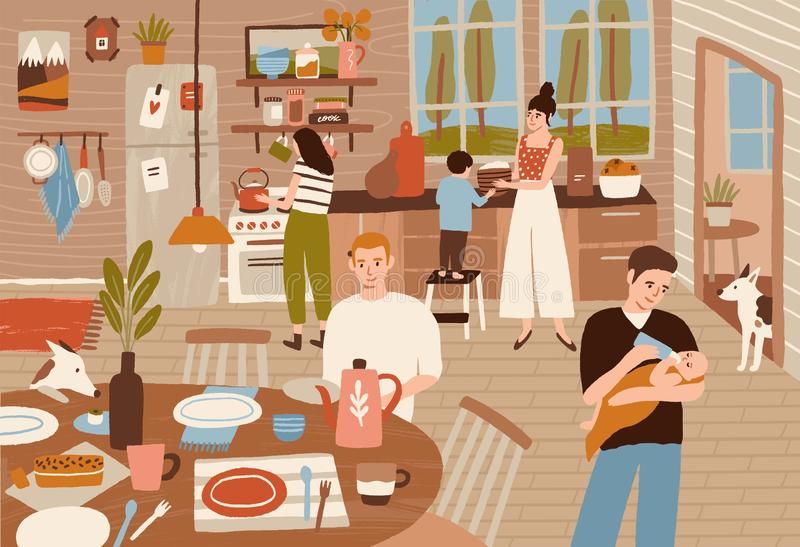 Happy family cooking in kitchen and serving dining table. Smiling adults and children preparing meals for dinner vector illustration