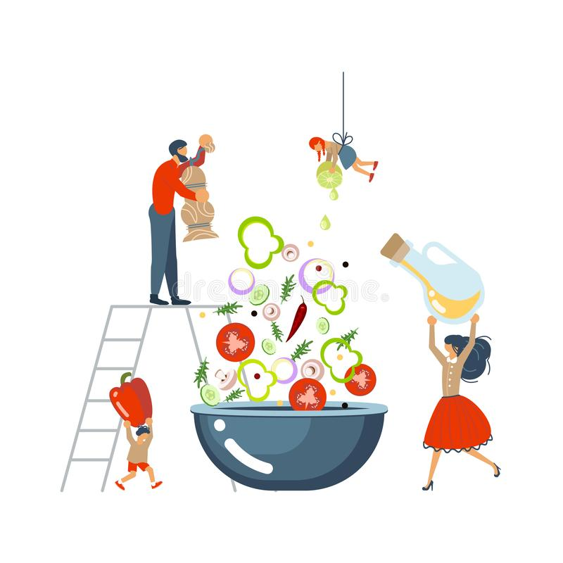 Happy happy family cooking together a salad concept. Poster, banner template for cooking master class in flat. Dad, mom, daughter, son enjoys of cookery stock illustration