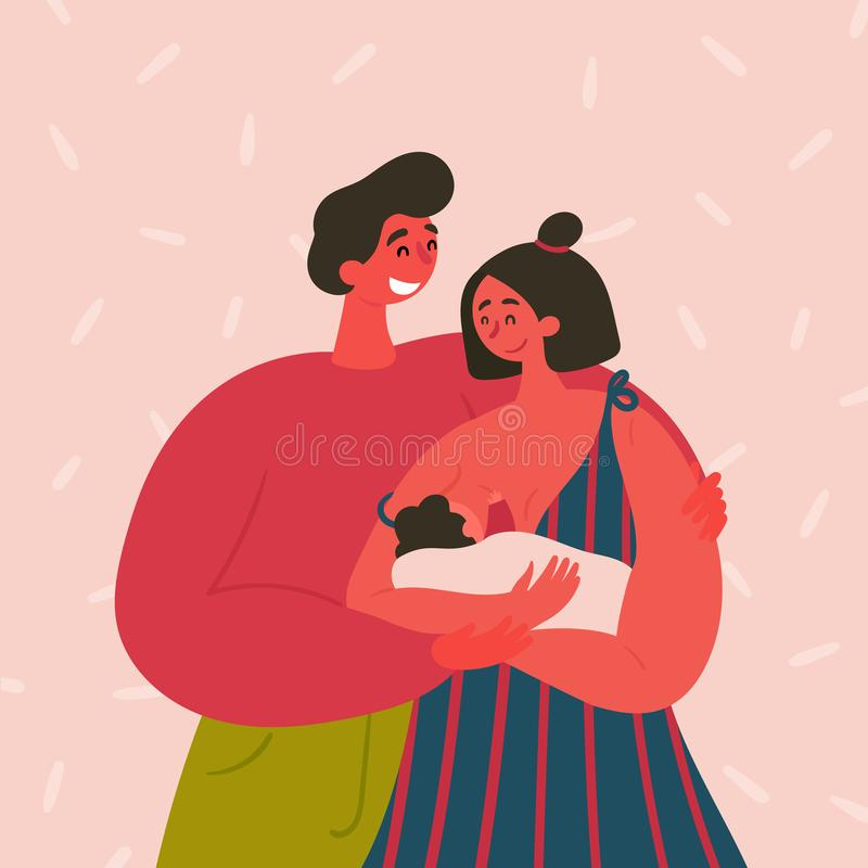 Happy couple. A breast feeding woman and a man. Happy family couple. A breast feeding woman, baby and a man on the pink background. Modern mother breastfeeding vector illustration