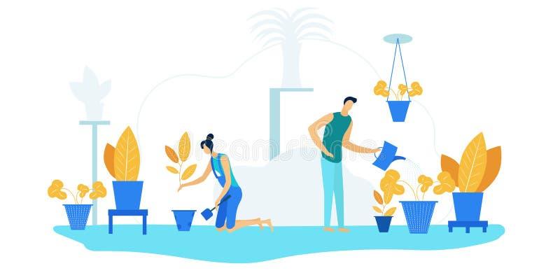 Happy Family Couple Gardening Homework with Plants vector illustration