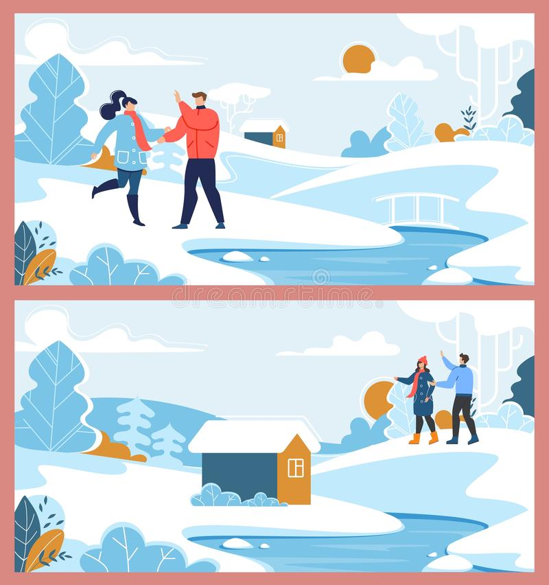 Happy Family Couple and Winter Suburb Rest Set. Happy Family Man and Woman Loving Couple Characters. Winter Suburb Rest. Natural Scene. Snowy Forest with River vector illustration