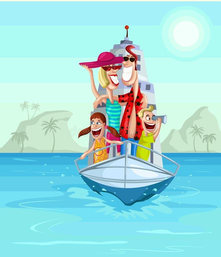 Happy family on cruise stock illustration