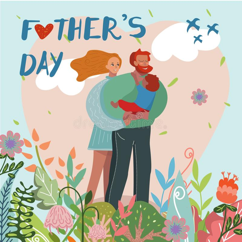 Happy Fathers Day Greeting Card, Parents and Son vector illustration