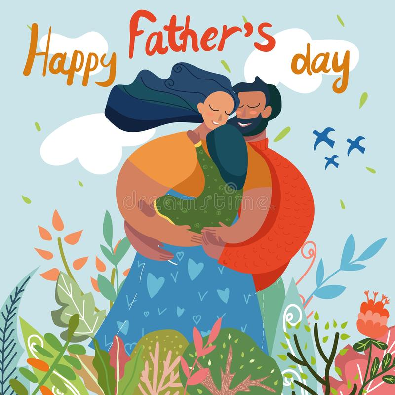 Happy Fathers Day Greeting Card, Family on Field vector illustration