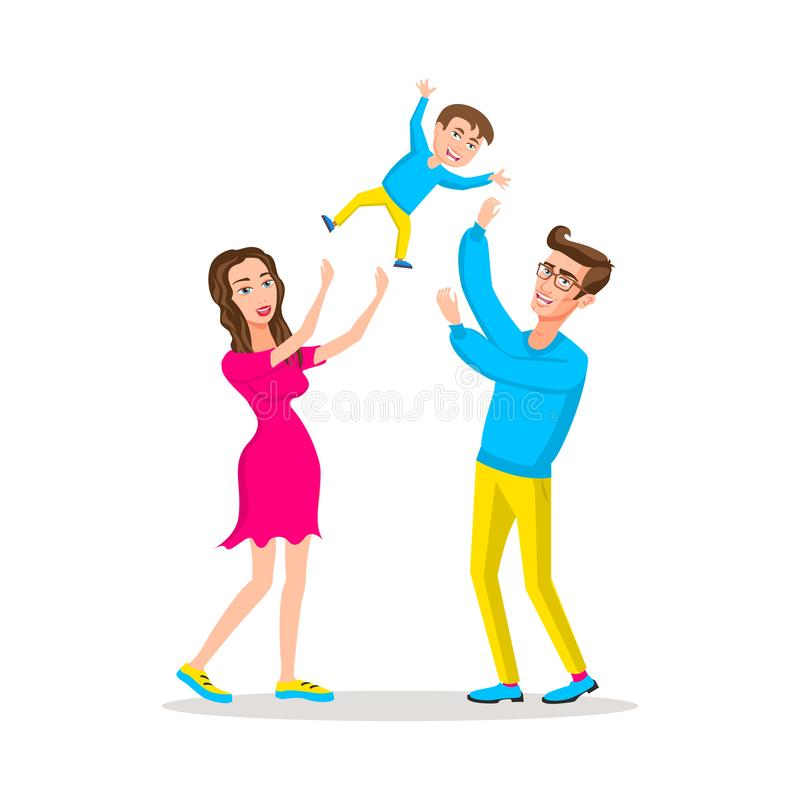 Happy family dad and mom threw son up, parents with their little child. Father raising baby up in the air stock illustration