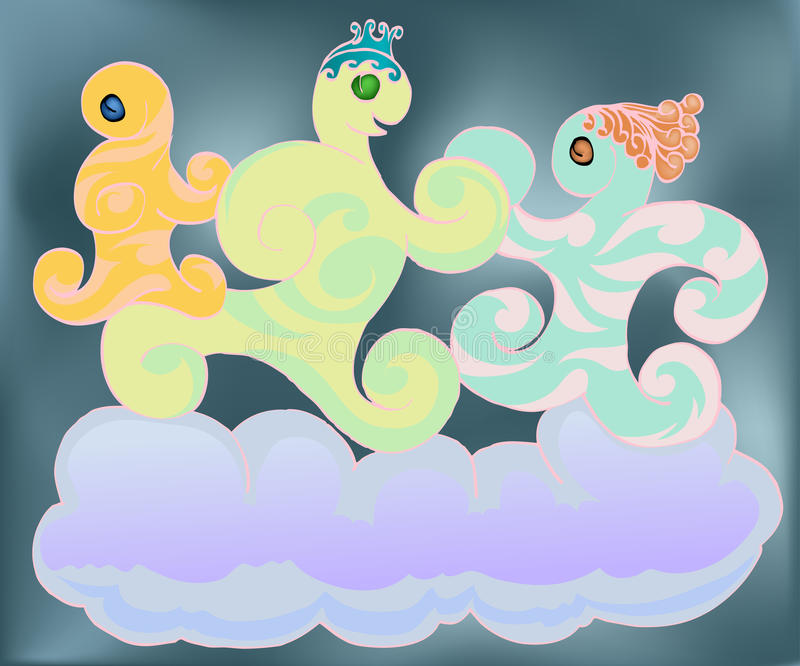 Happy family dancing on the cloud vector illustration