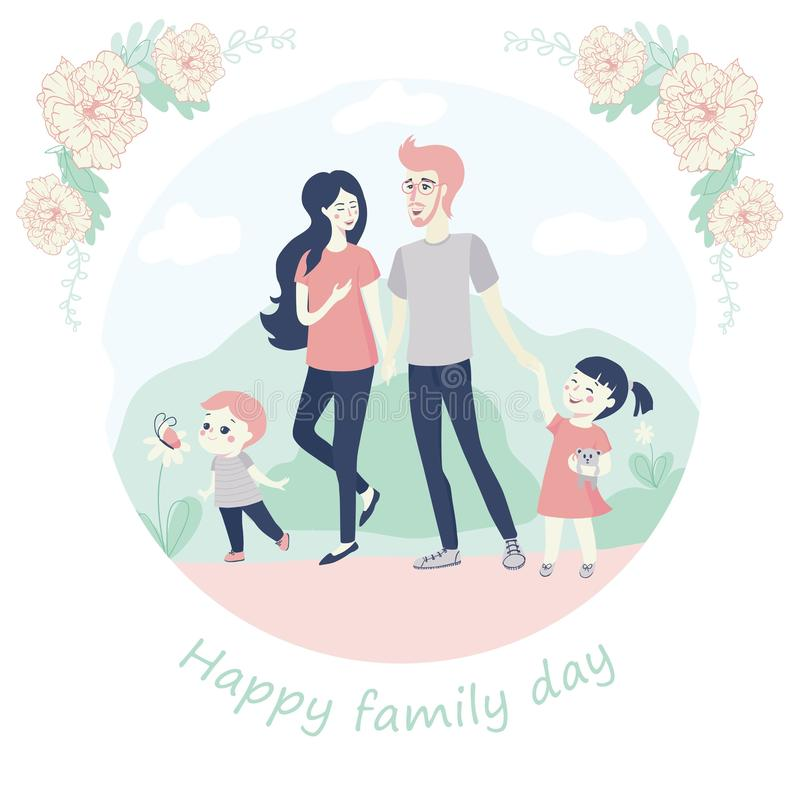 Happy Family Day Concept with a young family with kids, a small brother and sister, walking hand in hand with their vector illustration