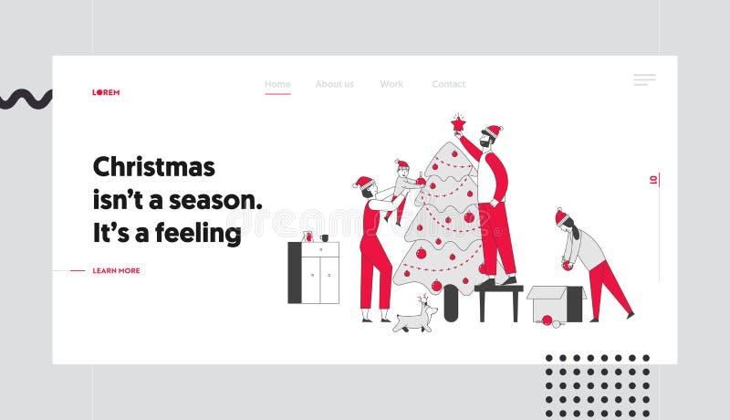 Happy Family Decorate Weihnachtsbaum auf der Homepage Landing Page Vater setzte Stern auf die Spitze der Tree, Mutter vektor abbildung