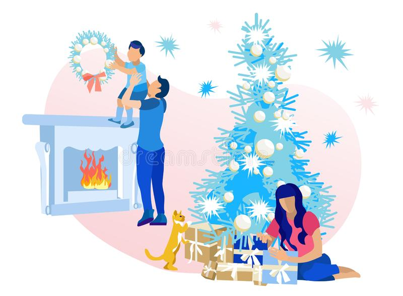 Happy Family Decorating Living Room for Kerstmis royalty-vrije illustratie