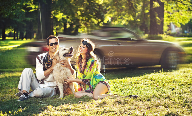 Happy Family With Dog Royalty Free Stock Photo