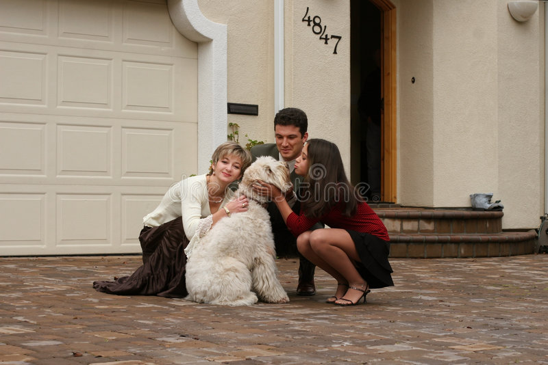 Download Happy family with a dog stock photo. Image of blond, group - 466016