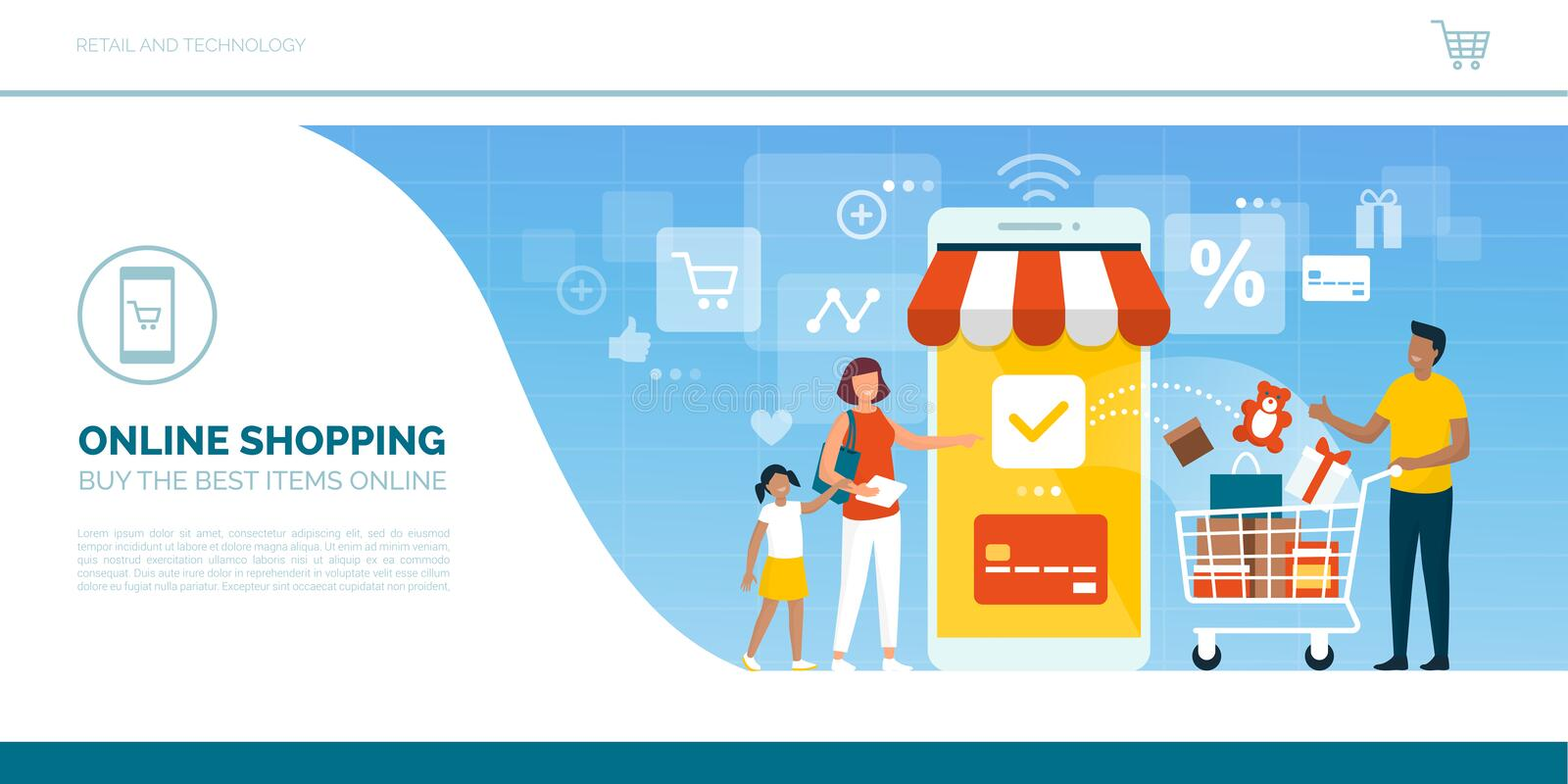 Happy family doing grocery shopping online royalty free illustration