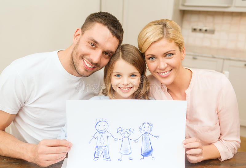 Happy family drawing at home. Family, children and happy people concept - happy family drawing at home stock image