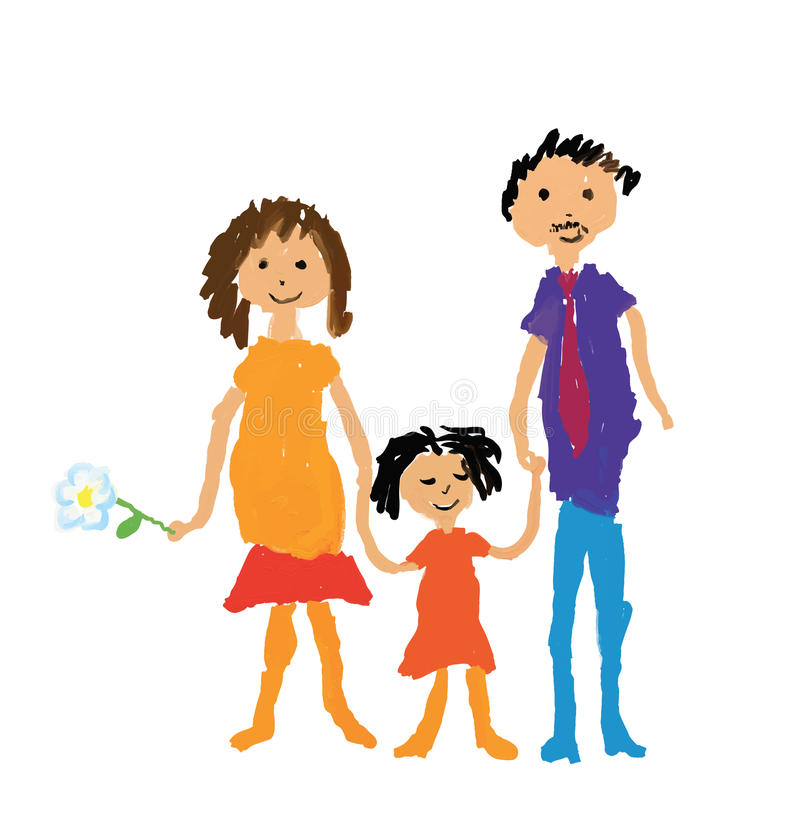 Happy family drawing stock illustration