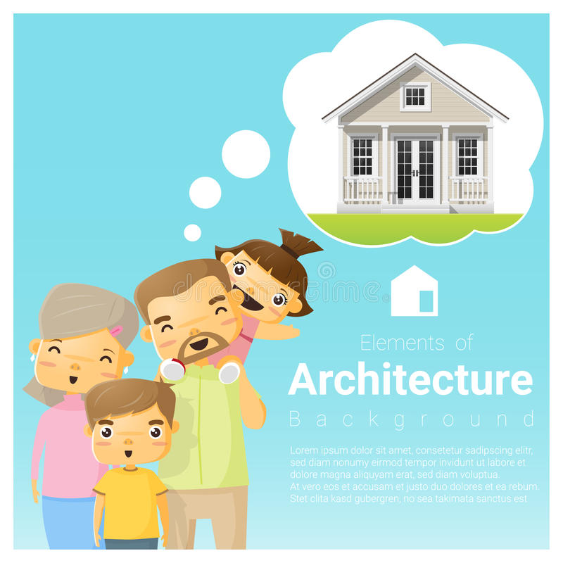 Happy family and dream house background stock illustration