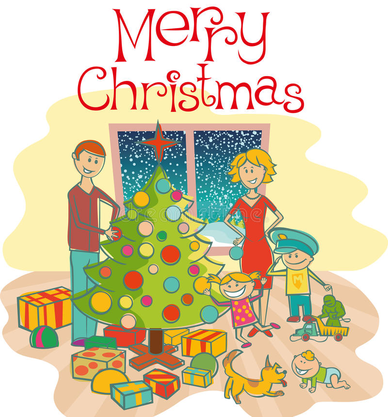 Download Happy Family Dressing Up The Christmas Tree Stock Vector - Image: 16973537