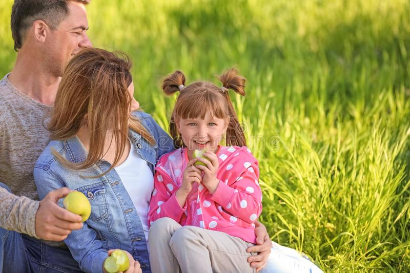 Happy family eating apples in park stock image