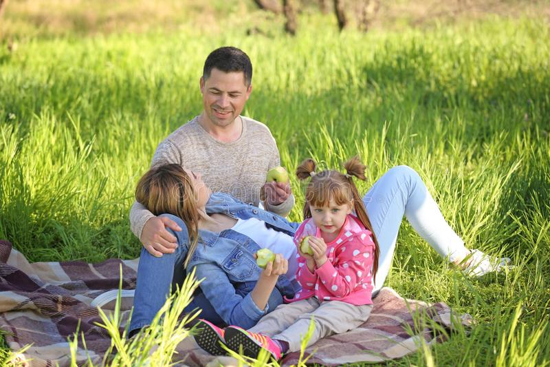 Happy family eating apples in park royalty free stock photos