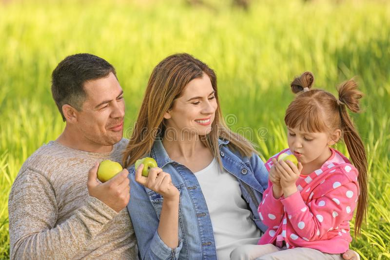 Happy family eating apples in park stock photography