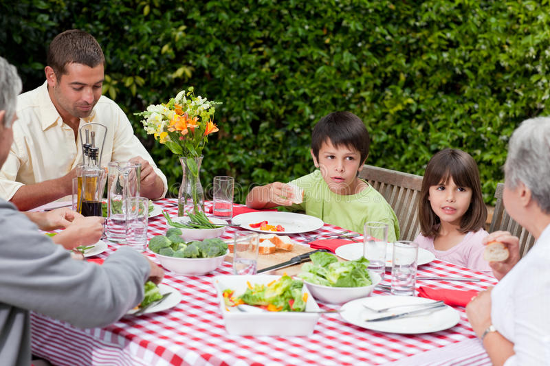 Download Happy Family Eating In The Garden Stock Photo - Image: 18104682