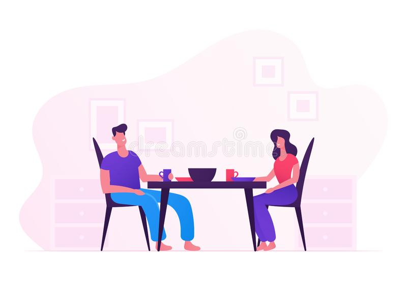 Happy Family Eating Together at Home. Young Loving Couple Man and Woman Sitting at Table on Kitchen Having Tasty Meal royalty free illustration