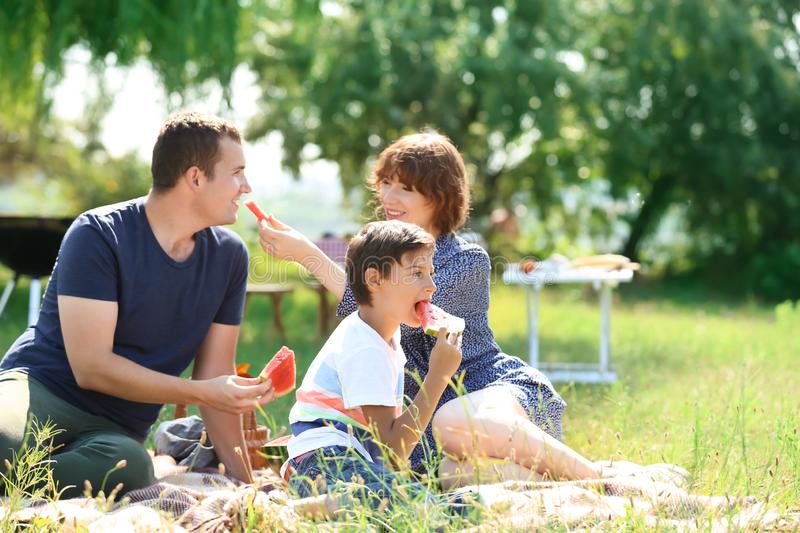 Happy family eating watermelon on summer picnic in park royalty free stock images