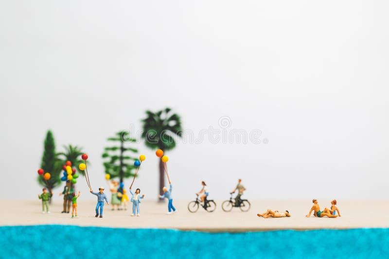 Happy family enjoy summer vacation on the beach stock image