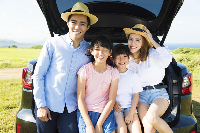 Happy family enjoying road trip and summer vacation royalty free stock photos