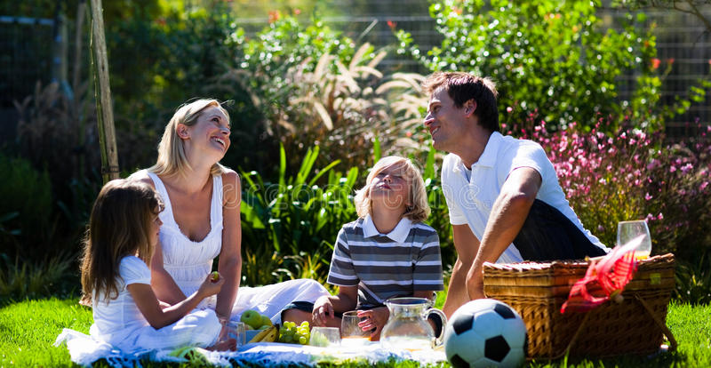 Download Happy Family Enjoying The Sun In A Picnic Stock Image - Image: 9650771