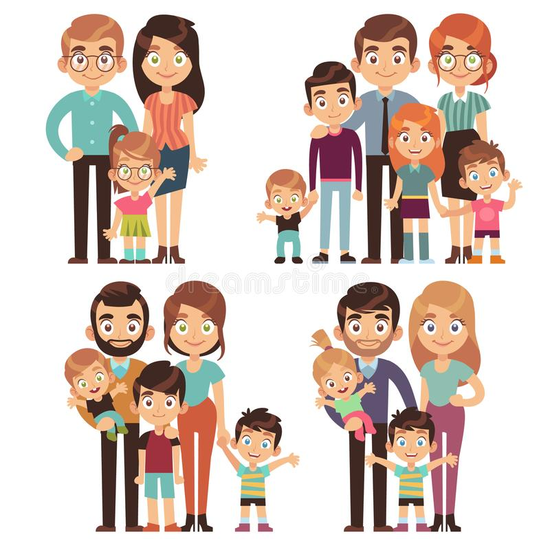 Happy family. Families mother father kid brother sister traditional relationship generation society flat character set stock illustration