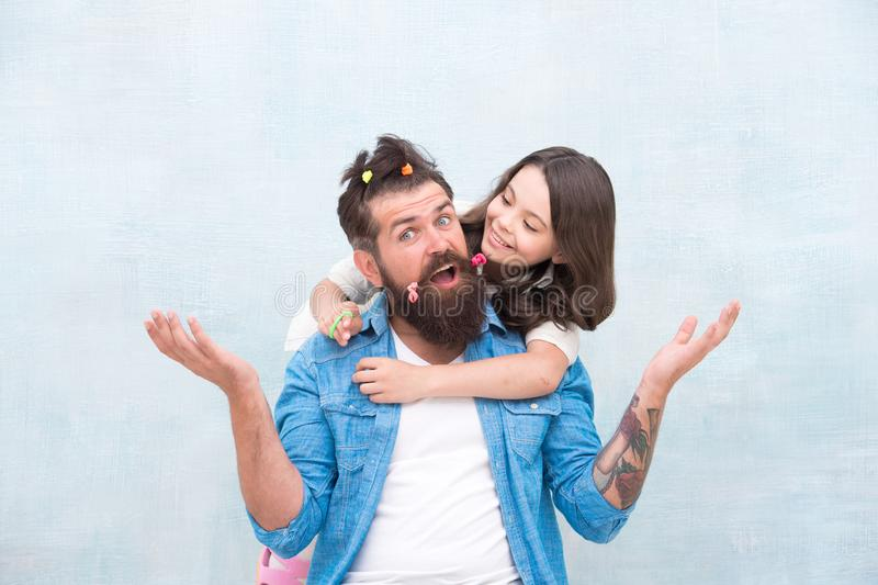 Happy family. Family members have fun together. Bearded man and small girl. Father and little daughter. Fathers day royalty free stock photos