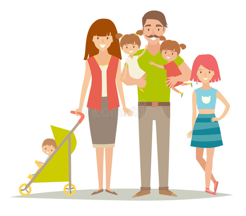 Happy family. Family with twins kids. Cartoon characters family. Family: mother,father, brother, sisters, twins royalty free illustration