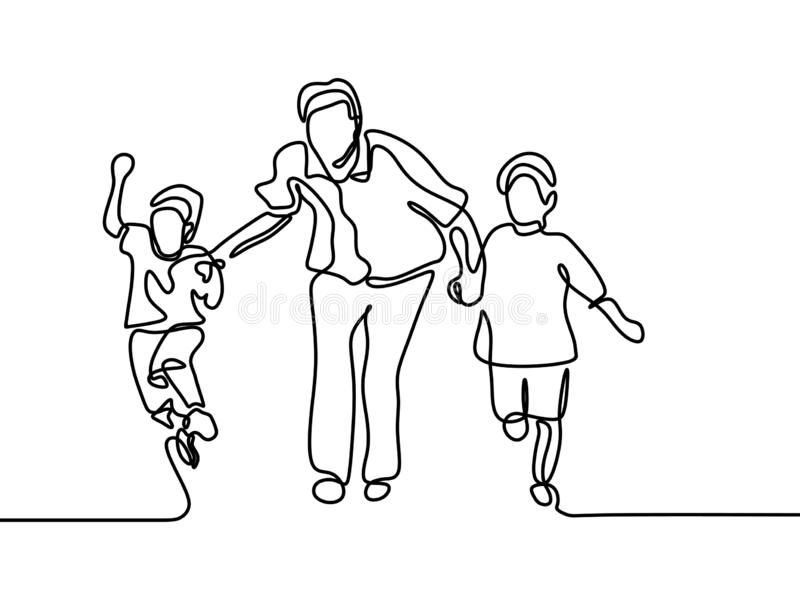 Happy family of father and children one continuous line drawing vector illustration