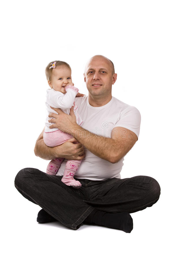 Happy family - father and little daughter. royalty free stock photos