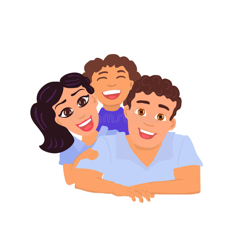 Happy family father, mom and daughter. Vector vector illustration